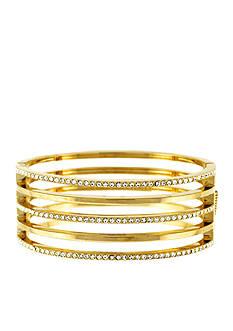 Vince Camuto Gold-Tone Crystal Line Hinge Bracelet