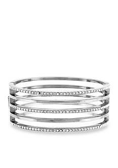 Vince Camuto Silver-Tone Crystal Hinge Bracelet