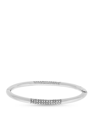 Vince Camuto Silver-Tone Pave Hinged Bracelet