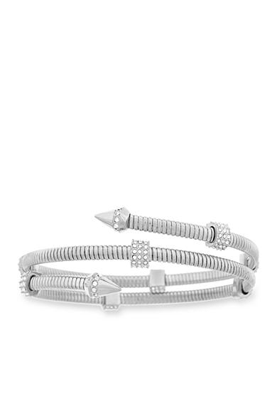 Vince Camuto Silver-Tone Coil Bracelet with Pave Stones