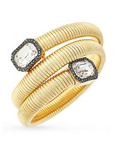 Vince Camuto Gold-Tone Coil Bracelet with Square Stones