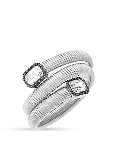Vince Camuto Silver-Tone Coil Bracelet with Square Stones