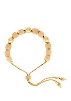 Vince Camuto Gold-Tone Peach Bead Adjustable Bracelet