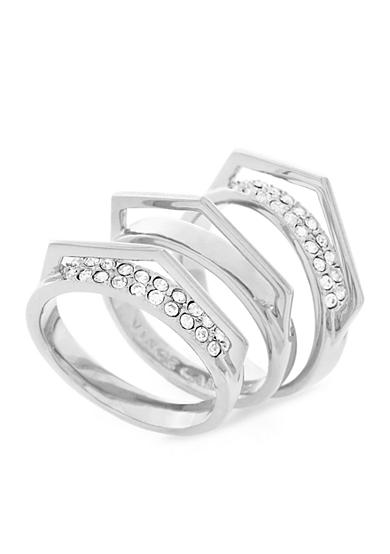 Vince Camuto Silver-Tone Stacked V Pave Rings