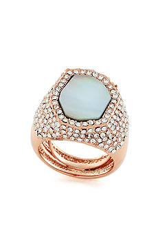 Vince Camuto Rose Gold-Tone Bold Pave Shell Ring