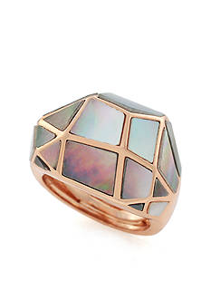 Vince Camuto Rose Gold-Tone Domed Shell Inlay Ring