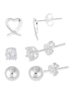 Belk Silverworks Sterling Silver Ball, CZ, and Open Heart Stud Earring Set