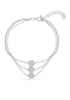 Belk Silverworks Sterling Silver Cubic Zirconia Discs Triple-Strand Bracelet