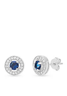 Belk Silverworks Silver-Tone Blue and Clear Cubic Zirconia Stud Earrings