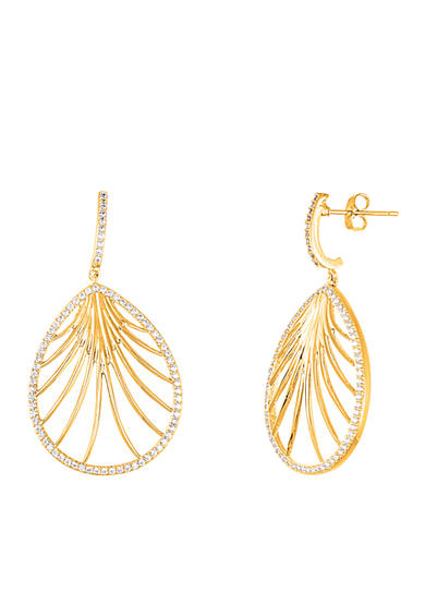 Belk Silverworks Gold-Tone Cubic Zirconia Teardrop Earrings