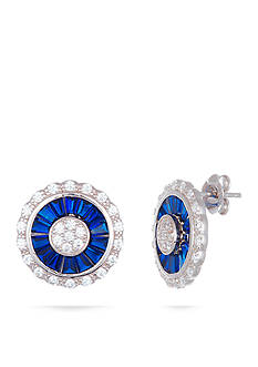 Belk Silverworks Rhodium-Plated Sterling Silver Blue and Clear Cubic Zirconia Button Earrings