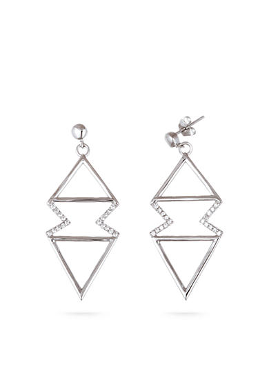 Belk Silverworks Rhodium-Plated Sterling Silver Zigzag Triangle Drop Earrings
