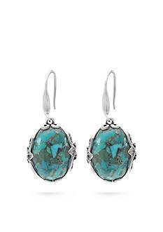 Belk Silverworks Sterling Silver Oxidized Turquoise Drop Earrings