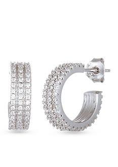 Belk Silverworks Sterling Silver Cubic Zirconia Hoop Stud Earrings