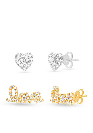 Belk Silverworks Two-Tone Sterling Silver Cubic Zirconia Love and Heart Button Earrings Set