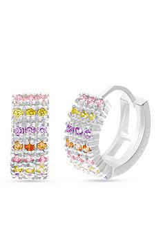 Belk Silverworks Sterling Silver Multi-Color Cubic Zirconia Huggie Earrings