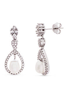 Belk Silverworks Rhodium Plated over Sterling Silver Cubic Zirconia and Pearl Drop Earrings