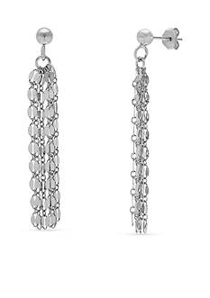 Belk Silverworks Rhodium Plated Sterling Silver Oval Link Chains Linear Earrings
