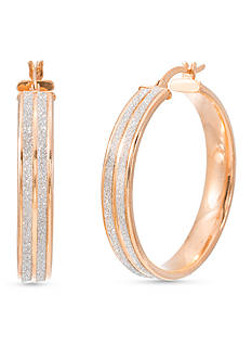 Belk Silverworks Rose-Tone Brass Glitter 34-mm. Hoop Earrings