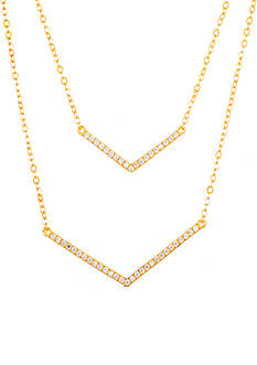 Belk Silverworks 18k Gold-Plated Cubic Zirconia Collar Necklace