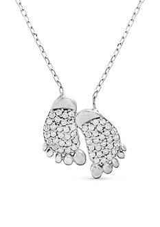 Belk Silverworks 18K White Gold Footprint Pendant Necklace