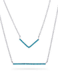 Belk Silverworks Silver-Tone Necklace with Layered Turquoise Cubic Zirconia Bars