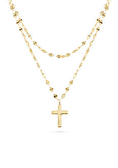 Belk Silverworks Gold-Tone Brass Cross Sparkling Choker Necklace