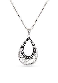 Belk Silverworks Sterling Silver Oxidized Swirl Teardrop Pendant