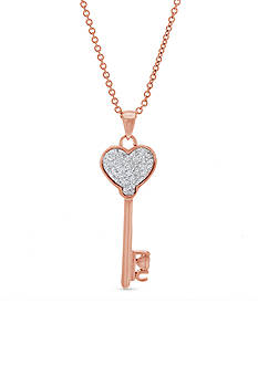 Belk Silverworks Rose-Tone Brass Glitter Heart Key Pendant Necklace