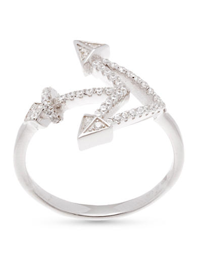 Belk Silverworks Rhodium-Plated Sterling Silver Cubic Zirconia Anchor Ring