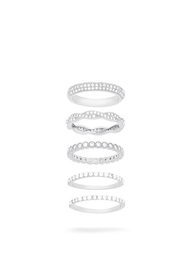 Belk Silverworks Rhodium-Plated Sterling Silver Five Piece Cubic Zirconia Band Ring Set