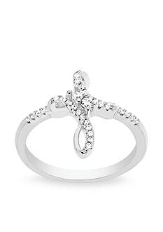 Belk Silverworks Rhodium-Plated Sterling Silver Cubic Zirconia Forever Together Cross Ring