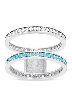 Belk Silverworks Silver-Tone Turquoise Double Band Ring