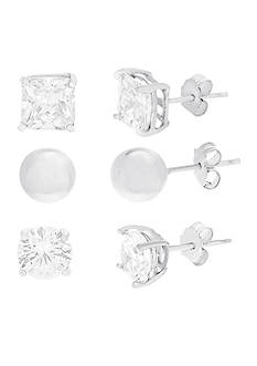 Belk Silverworks Rhodium-Plated Sterling Silver Round and Square Cubic Zirconia Trio Stud Earring Set