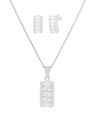 Belk Silverworks Sterling Silver Cubic Zirconia Curved Rectangle Bar Pendant Necklace and Earrings Set
