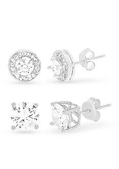 Belk Silverworks Rhodium-Plated Sterling Silver Round Cubic Zirconia Earrings Set