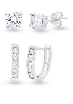 Belk Silverworks Rhodium-Plated Sterling Silver Cubic Zirconia Stud and Hoop Earring Set