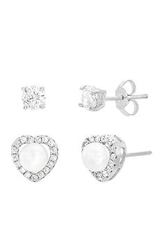 Belk Silverworks 18K White Gold 2-pc Earring Set