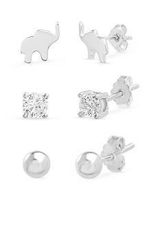 Belk Silverworks Silver-Tone Stud Earrings Set