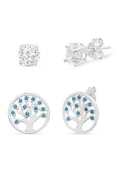 Belk Silverworks Silver-Tone Tree Of Life Earrings Set