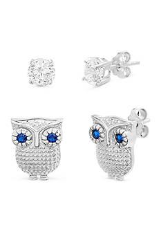 Belk Silverworks Silver-Tone Owl Earrings Set