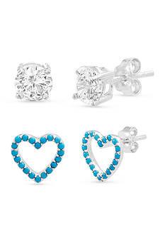 Belk Silverworks Silver-Tone Stud And Open Heart Earrings Set