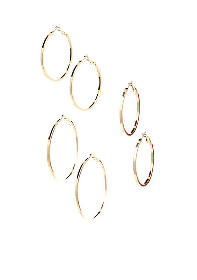 Red Camel® Trio Set of Gold Hoop Earrings