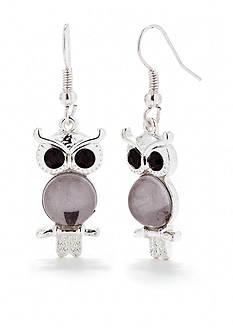 Red Camel Black Owl Drop Earrings