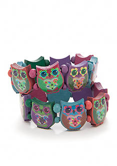 Red Camel Multi Owl Wood Stretch Bracelets