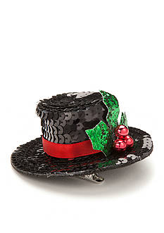 Red Camel Sequined Mistletoe Top Hat Hair Clip