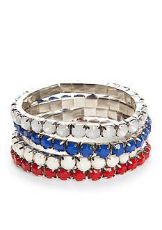 Red Camel Silver-Tone Americana Stretch Bracelet Set