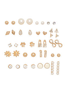 Red Camel® Gold-Tone Crystal and Pearl Stud Earrings Set