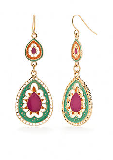 Red Camel® Gold-Tone Boho Brights Double Teardrop Earrings