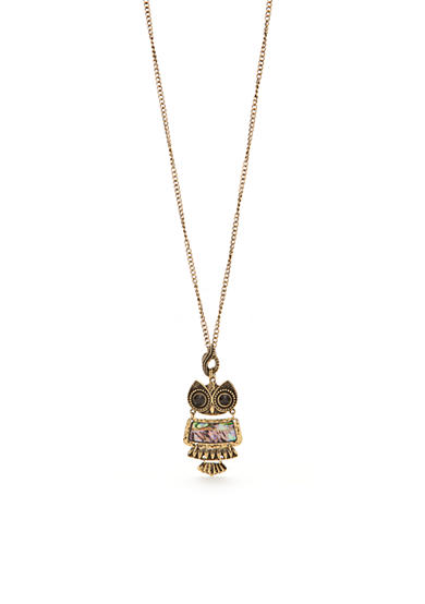 Red Camel® Gold-Tone Abalone Owl Pendant Necklace